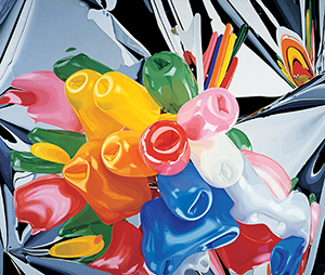 Jeff Koons, 'Tulips,' 1995–98. Oil on canvas; 111 3⁄8 × 131 in. (282.9 × 332.7cm). Private collection. © Jeff Koons. Image courtesy of the Whitney Museum of American Art.