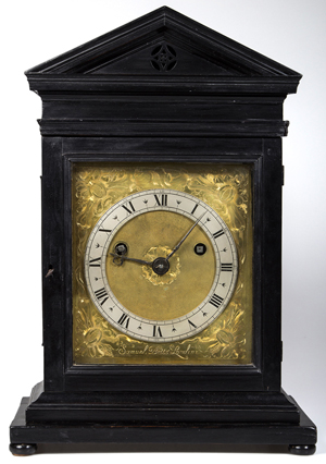 The Samuel Betts (London, active 1645-1673) ebonized bracket clock, circa 1660-1665, realized $109,250. The winning Australian buyer won the clock through LiveAuctioneers in a heated battle against seven phone bidders and numerous other Internet bidders. Jeffrey S. Evans & Associates image.