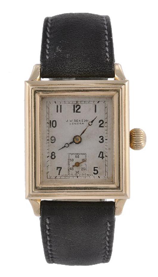 J. W. Benson, Blitz, man's limited edition 18K gold rectangular wristwatch, circa 1990. Estimate: £1,500-2,500. Dreweatts & Bloomsbury Auctions image.
