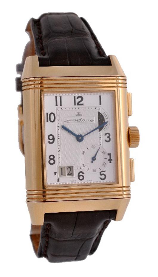 Jaeger LeCoultre, Reverso Grande GMT, man's 18K gold wristwatch, circa 2000. Estimate: £5,000-8,000. Dreweatts & Bloomsbury Auctions image.
