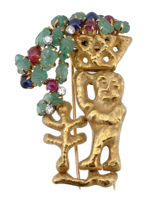 A 1950s gem set clip brooch by Franco Cannilla for Masenza. Estimate: £2,500-3,500. Dreweatts & Bloomsbury Auctions image.