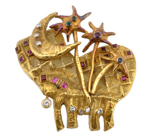 Gem set clip brooch by Afro Basadella for Masenza, circa 1950. Estimate: £1,200-1,500. Dreweatts & Bloomsbury Auctions image.