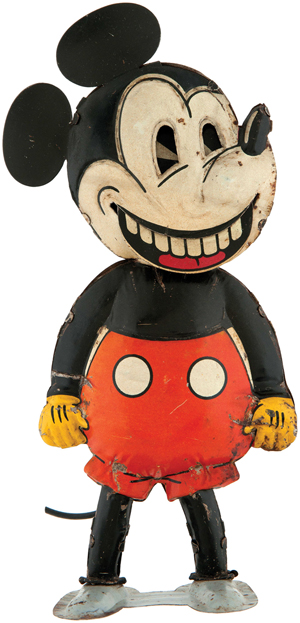 Saalheimer & Strauss (made in Germany for British market) Mickey Mouse with Moving Mouth, tin, circa 1930, one of few known examples. Provenance: Maurice Sendak collection. Estimate: $20,000-$35,000. Image courtesy of Hake's