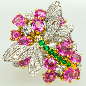 Chantecler (Island of Capri) diamond, pink sapphire and green gemstone dragonfly ring. Total diamond weight 1.50cts. Auction Zero image
