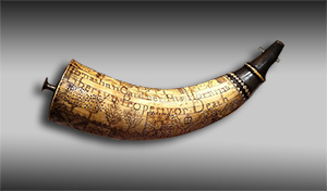 This is not the powder horn in question, but it is another fine example of a hand-engraved early American horn. This one, carved by Jonathan Gardner in 1776, is part of the permanent collection at the Concord Mass Museum. Photo by Victorgrigas, licensed under under the Creative Commons CC0 1.0 Universal Public Domain Dedication