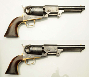 Pair of 1857 Colt Walker Type 3 Dragoons, consecutive numbers, purchased by a Pennsylvania man who later served in an Ohio regiment in the Civil War, est. $45,000-$60,000. Morphy Auctions image