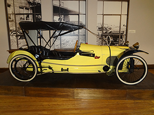 Each month the Auburn Cord Duesenberg Automobile Museum designates one of its automobiles to be the Automobile of the Month. April's selection was this 1913 Imp Cyclecar, which was donated to the museum by James H. McIntyre. Manufactured by the W H McIntyre Company of Auburn, Indiana, it had a production run of only a few thousand vehicles. It has a 2-cylinder engine that produces 15 horsepower. This car is one of only five Imps known to exist. Image courtesy of the Auburn Cord Duesenberg Automobile Museum.