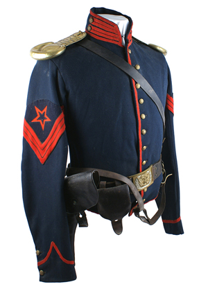 Civil War ordnance sergeant's cavalry 'shell' jacket with correct belt and colt-type black leather holster ($3,510). Mohawk Arms image