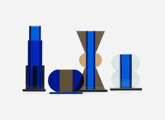 Sottsass designed colorful glass vessels which were produced at a glassworks in Murano, Italy for the Memphis Group.  Eye-catching when displayed as a group, this quartet of 1981 vases brought $10,000 in March. Courtesy Wright Auctions