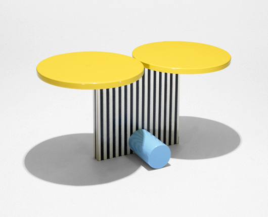Small accent pieces by Memphis designers brighten interiors with a splash of color. Michele de Lucchi (b. 1951), another founding member of the style group, created the Polar occasional table in 1984; a labeled example, made in Milan, brought $2625 several years ago. Courtesy Wright Auctions