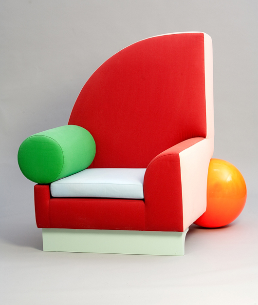 The principal American member of Memphis was artist Peter Shire (b. 1947), who still lives and works in the Echo Park district of Los Angeles. This 1982 Bel Air armchair was a key exhibit in the 2014 Memphis Milano exhibition at the Dixon Gallery and Gardens. Private Collection, Courtesy Dixon Gallery and Gardens, Memphis, Tennessee