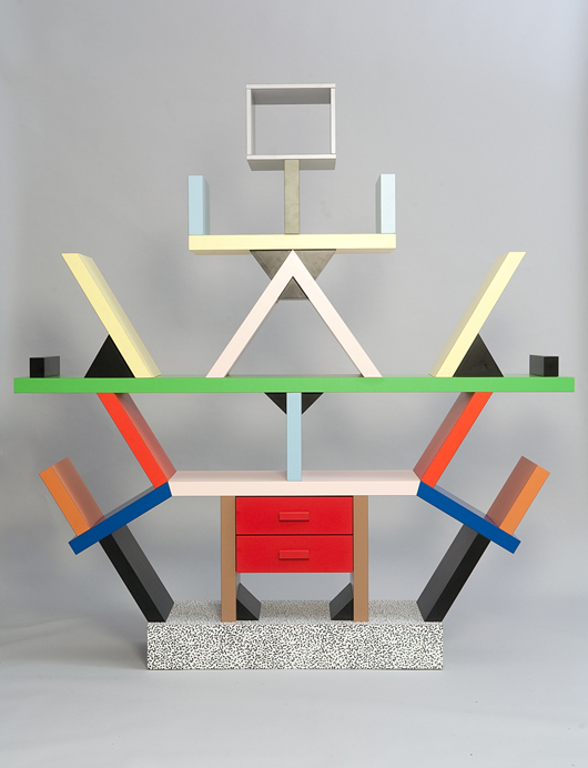 The most recognizable furniture icon from the Memphis Group may be Ettore Sottsass's 1981 Carlton Room Divider, constructed of plastic laminate. The design perfectly illustrates the style's vivid colors and defiance of conventional functionality. Private Collection, Courtesy Dixon Gallery and Gardens, Memphis, Tennessee