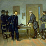 Lee Surrendering to Grant at Appomattox / Alonzo Chappel (American, 1828-1887), 'Lee Surrendering to Grant at Appomattox,' circa 1870, oil on paperboard. Smithsonian American Art Museum, gift of Nancy L. Ross in memory of Patricia Firestone Chatham. Image courtesy of the National Portrait Gallery, The Smithsonian