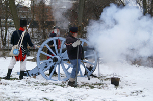 In this 2007 photo, members of 221st Ordinance Company fire off a cannon at Historic Old Fort Wayne (Indiana). Image courtesy of Historic Fort Wayne Inc.