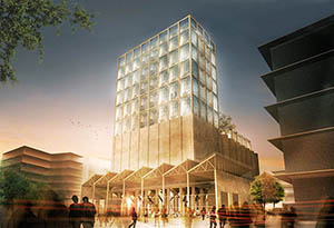 Architectural rendering of Zeitz Museum of Contemporary Art Africa at the V&A Waterfront in Cape Town, South Africa. The museum will house the renowned Zeitz Collection. Image courtesy of Zeitz Foundation for Intercultural Ecosphere Safety