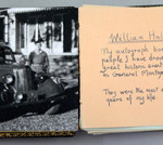 William Hallam's autograph book with (left) a photograph of him with 'Monty.' Estimate: £2,000-3,000. Ewbank's image.