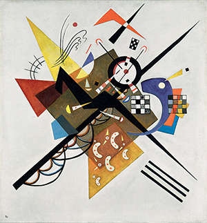 Wassily Kandinsky(Russian, 1866–1944) On White II (Auf Weiss II), 1923 Oil on canvas 41 5/16 × 38 9/16 in.Centre Georges Pompidou, Musée national d'art moderne, Paris Gift of Mrs. Nina Kandinsky in 1976AM 1976–855© Centre Pompidou, MNAM-CCI/ Georges Meguerditchian / Dist.RMN-GP© 2014 Artists Rights Society (ARS), New York / ADAGP, Paris