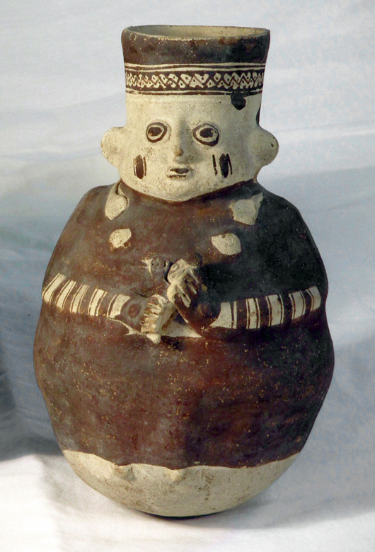 One of a group of pottery vessels from Chancay culture, circa 1000-1300 CE. Starts at $200. Artemis Gallery image
