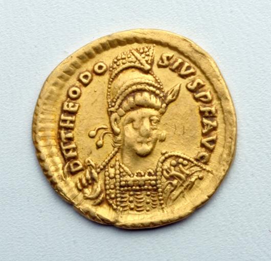 Eastern Roman Empire gold solidas, Theodosus II, circa 402 to 450 CE. Est. $1,200 to $1,500. Artemis Gallery image