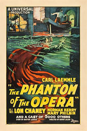 'The Phantom of the Opera' (Universal, 1925), one sheet (27 x 41 inches). Estimate: $80,000-$160,000. Heritage Auctions image.