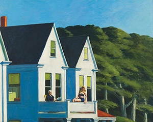 Edward Hopper (American, 1882-1967), 'Second Story Sunlight,' 1960, oil on canvas, 40 3/16 x 50 1/8 inches (102.1 x 127.3cm). Whitney Museum of American Art, New York; purchase, with funds from the Friends of the Whitney Museum of American Art 60.54. Copyright Whitney Museum of American Art. Photograph by Sheldan C. Collins.