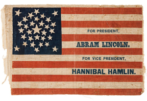 Abraham Lincoln and Hannibal Hamlin campaign flag, 13 by 8. 1/4 inches, glazed cotton. Estimate: $20,000 - up. Heritage Auctions image.