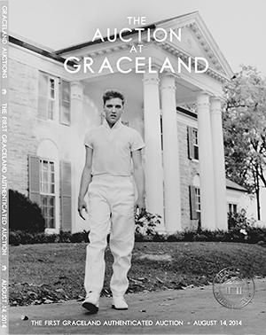 The cover of the printed catalog for the Aug. 14 'Auction at Graceland' features a photo of Elvis Presley in front of his beloved Memphis home, Graceland. Photo Courtesy of Graceland, Memphis, TN.