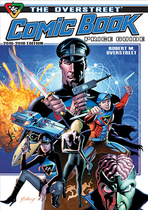captain action on cover of 2015 overstreet comic book guide rh liveauctioneers com Overstreet Price Guide 2017 Classic Illustrated Price Guide