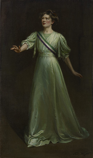 Dame Christabel Pankhurst by Ethel Wright, exhibited 1909 © National Portrait Gallery, London.