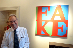 Convicted art faker John Myatt, whose exhibition of honest fakes in the style of modern masters has been packing in the crowds at Castle Fine Art in Bruton Street. Image Auction Central News.