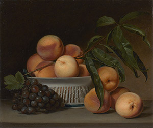 Raphaelle Peale (1774-1825), 'Peaches and Grapes in a Chinese Export Basket,' 1813, oil on panel, Amon Carter Museum of American Art, Fort Worth, Texas, acquisition in memory of Ruth Carter Stevenson, President of the Board of Trustees, 1961-2013, with funds provided by the Ruth Carter Stevenson Memorial and Endowment Funds.