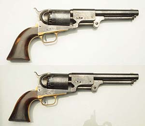 Top lot of the sale, a pair of 1857 Colt Walker Type 3 Dragoons with consecutive serial numbers, $54,000. Morphy Auctions image