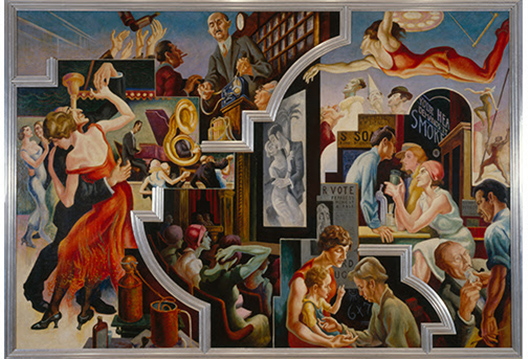 Thomas Hart Benton (American, 1889-1975) 'City Activities with Dancehall' from 'America Today,' 1930–31. Mural cycle consisting of 10 panels. Egg tempera with oil glazing over Permalba on a gesso ground on linen mounted to wood panels with a honeycomb interior. The Metropolitan Museum of Art, Gift of AXA Equitable, 2012.