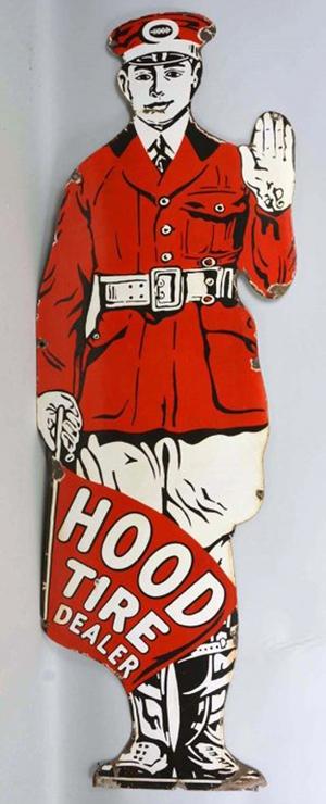 Single-sided porcelain sign advertising Hood Tire dealer, est. $10,000-$15,000. Morphy Auctions image
