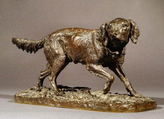 A model of a retriever on rectangular base by Pierre Jules Mêne (1810-1877). It has a saleroom estimate of £1,200-£1,500. Photo: The Canterbury Auction Galleries