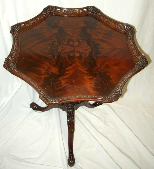 This Lamp Table From The Late 1940s Has A Crotch Cut Mahogany Veneer Top  And A