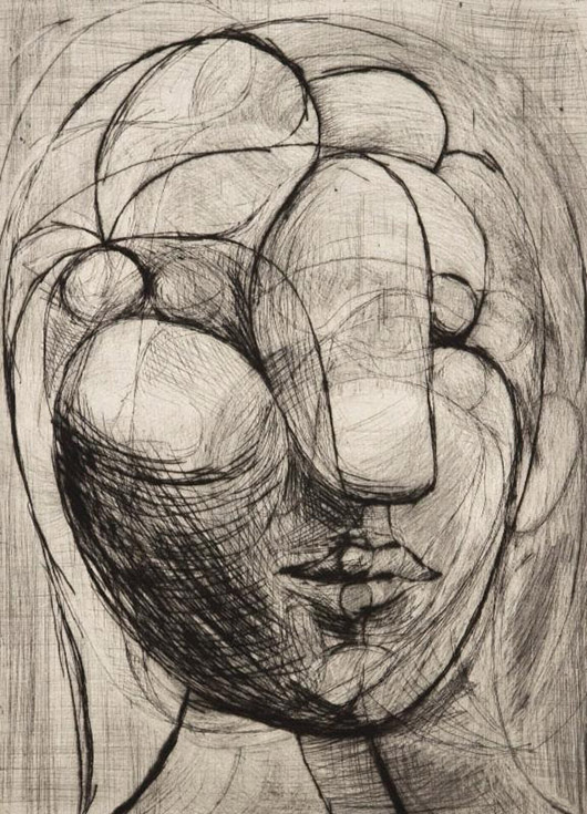 Pablo Picasso, 'B250 Sculpture, Tête de Marie-Thérèse.' 1933, Paris, from the Caisse à remords, drypoint with scraper printed on Arches paper, stamp signed lower right, one of 20 artist's proofs, published by Galerie Louis Leiris, 1981. Courtesy: John Szoke Gallery, New York, N.Y.