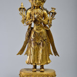 Gilt-bronze figure of Avalokitesvara on lotus base, Ming Dynasty, 23½ inches tall, purchased by a LiveAuctioneers bidder for $197,430 on May 18, 2014 at Wichita Auctioneers, New York City. Image courtesy of LiveAuctioneers Archive and Wichita Auctioneers