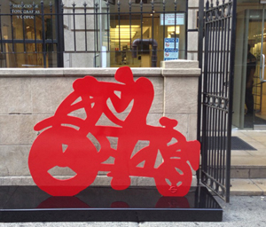 'Las Bicicletas' by Gabriel Aceves Navarro, New York City, photo via http://www.nycbikemaps.com/spokes/las-bicicletas-public-bike-art-exhibit/