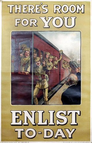'There's Room For You - Enlist To-day', a poster published by the Parliamentary Recruiting Committee. Sold for £400. Photo: The Canterbury Auction Galleries.