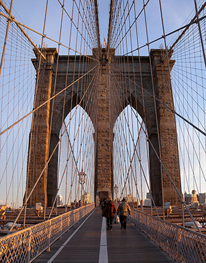 View of the Brooklyn Bridge from the pedestrian walkway. Image by Jim Henderson, courtesy of Wikimedia Commons.
