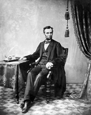 President Abraham Lincoln poses for this portrait in photographer Alexander Gardner's studio on Nov. 8, 1863. Image courtesy of Wikimedia Commons.