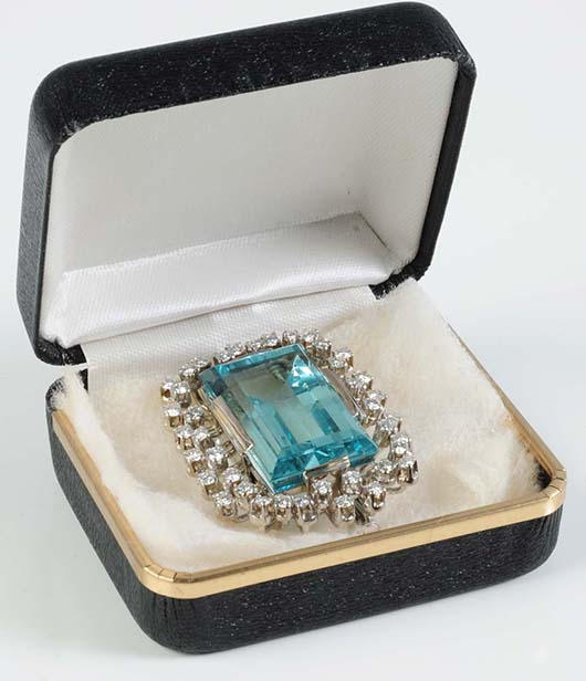 18K white gold aquamarine and diamond pin that doubles as a pendant. Est. $9,000-$13,000. Morphy Auctions image