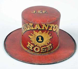 1848 Germantown (Philadelphia) fire company parade hat. Est. $8,000-$12,000. Morphy Auctions image