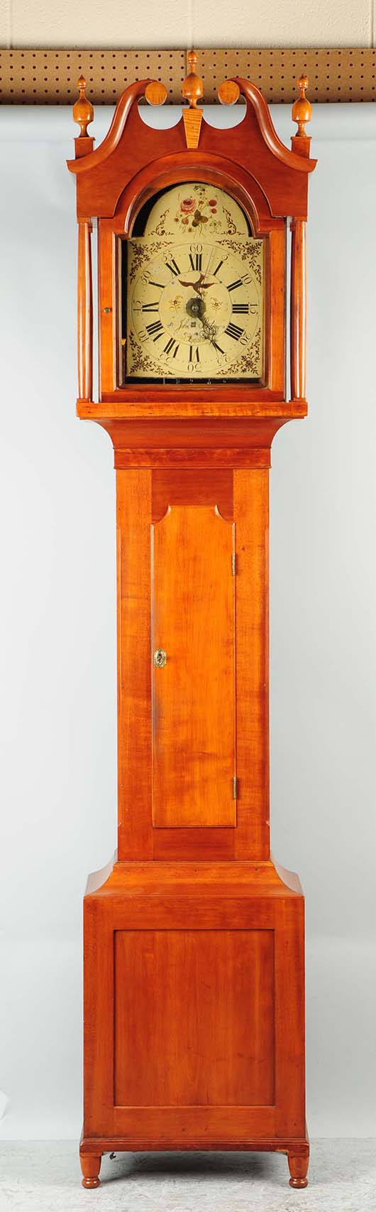 Circa 1880s Lancaster, Pa., tall-case clock with works marked 'John Belsner at Ephrata, Pa.,' in 92-inch-tall George Hoff case. Est. $3,000-$5,000. Morphy Auctions image