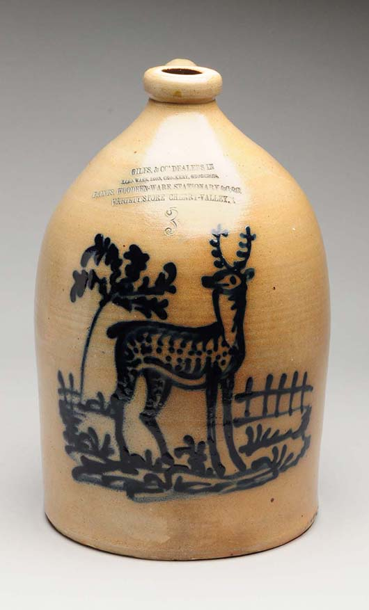 Stoneware 3-gallon jug with deer, heavy cobalt blue decoration, impressed for variety store Giles & Company, Cherry Valley. Est. $5,000-$8,000. Morphy Auctions