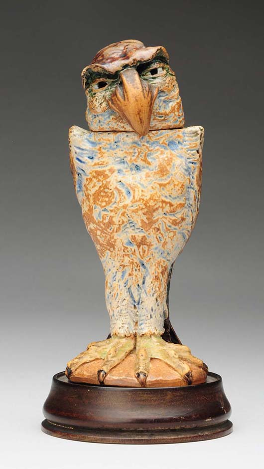 R.W. Martin & Brothers Wally Bird tobacco jar, signed, 6½ inches tall. Est. $13,000-$15,000. Morphy Auctions image