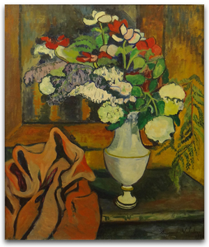 Suzanne Valadon, oil on canvas 'Vase de Fleurs.' Price realized: $44,840. Photo by Royce Bonta, Kodner Galleries.