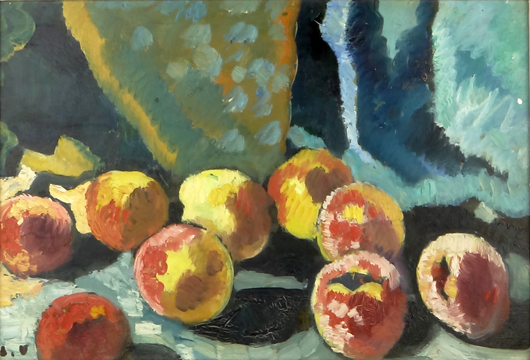 Louis Valtat, 'Pommes a la Draperie Bleu.' Price realized: $22,420. Photo by Royce Bonta, Kodner Galleries.