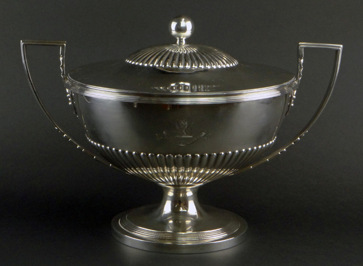 George III silver tureen. Price realized: $5,900. Photo by Royce Bonta, Kodner Galleries.